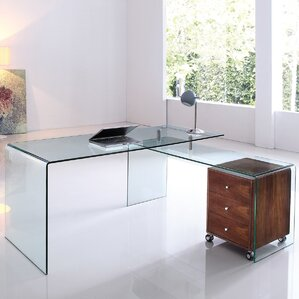Bogardus Executive Desk With Clear Glass