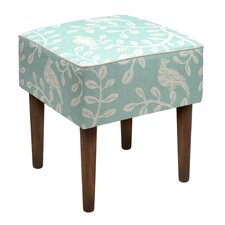 Birds and Vines Linen Upholstered Modern Vanity Stool by 123 Creations