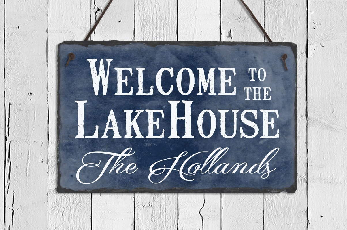sassysquirrelink welcome to the lake house slate wall décor | wayfair