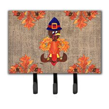 Thanksgiving Turkey Pilgrim Fleur De Lis Leash Holder and Key Holder by Caroline's Treasures