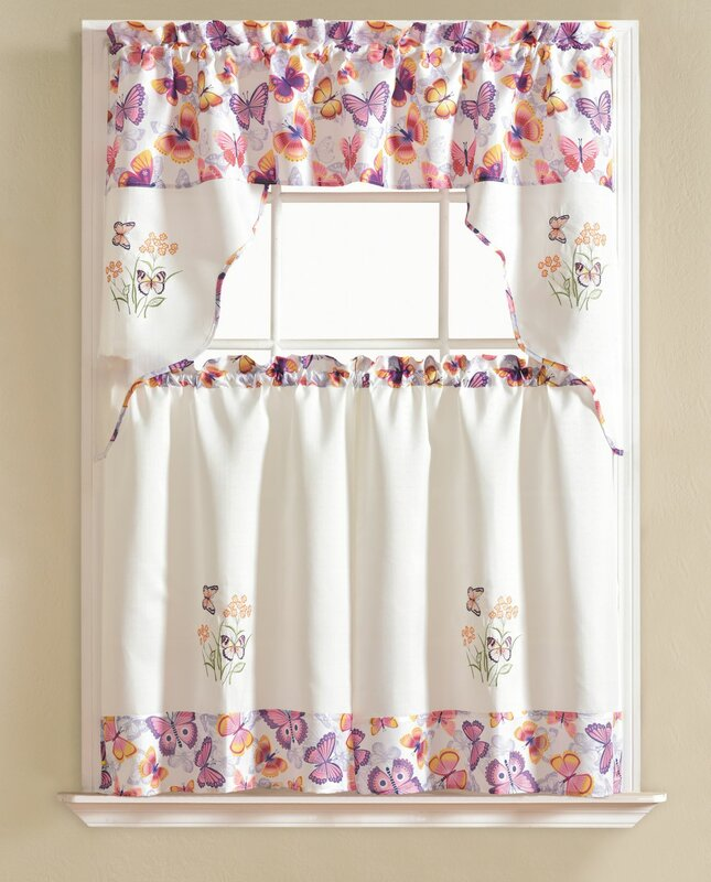 August Grove Gironde Butterfly 3 Piece Kitchen Curtain Set