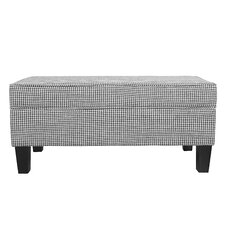 Patterson Ebony Houndstooth Upholstered Storage Bedroom Bench with Piping by Charlton Home