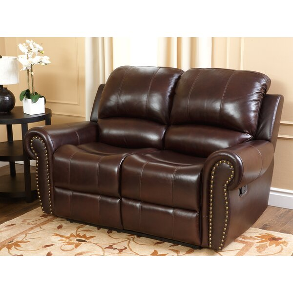 Darby Home Co Barnsdale Reclining Italian Leather Sofa And Loveseat Set In  Two Tone Burgundy U0026 Reviews | Wayfair