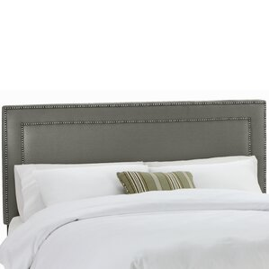 Twill Nail Button Border Upholstered Panel Headboard by House of Hampton