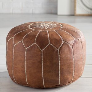 soukaina leather pouf ottoman by bungalow rose deal leather furniture. Black Bedroom Furniture Sets. Home Design Ideas