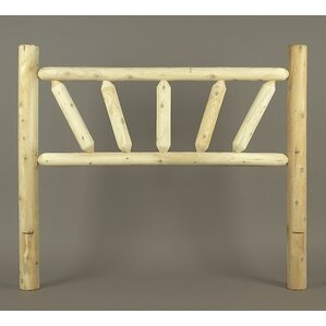 Rustic Sunburst Log Bed Open-Frame Headboard by Rustic Natural Cedar Furniture