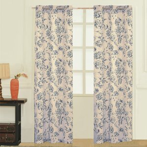 Fiona Nature/Floral Semi Sheer Grommet Curtain Panels (Set Of 2)