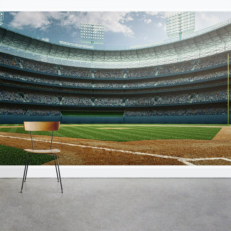 Baseball Wall Mural Wallums Decor Stadium 8 X 144 3 Piece