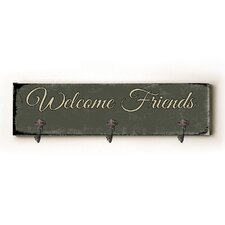 Welcome Friends Solid Wood Wall Mounted Coat Rack by Andover Mills
