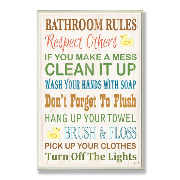 Bathroom Rules viv + rae 'bathroom rules rubber ducky' textual art on wood