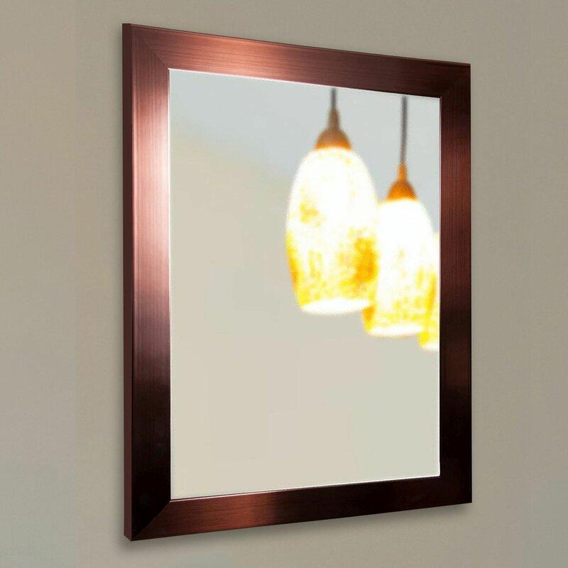 Industrial Wall Mirror brayden studio industrial bronze wall mirror & reviews   wayfair