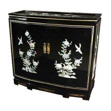 Asian Floral Design Slant Front Cabinet by Oriental Furniture
