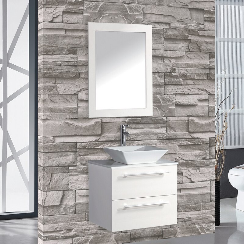 "mercury row bosarge 24"" single sink wall mounted bathroom vanity"