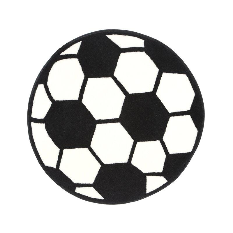 Fun Shape High Pile Soccerball Sports Area Rug