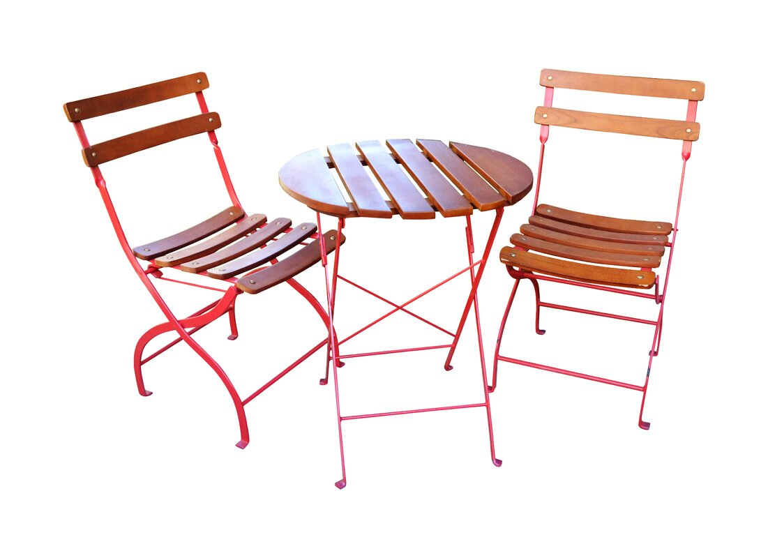 Garden tables gt square 3ft outdoor coffee table teak - Uptown 3 Piece Folding Bistro Set