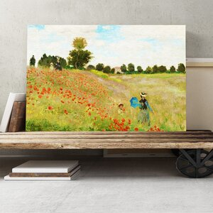 'Poppy Field' by Claude Monet Painting Print on Canvas