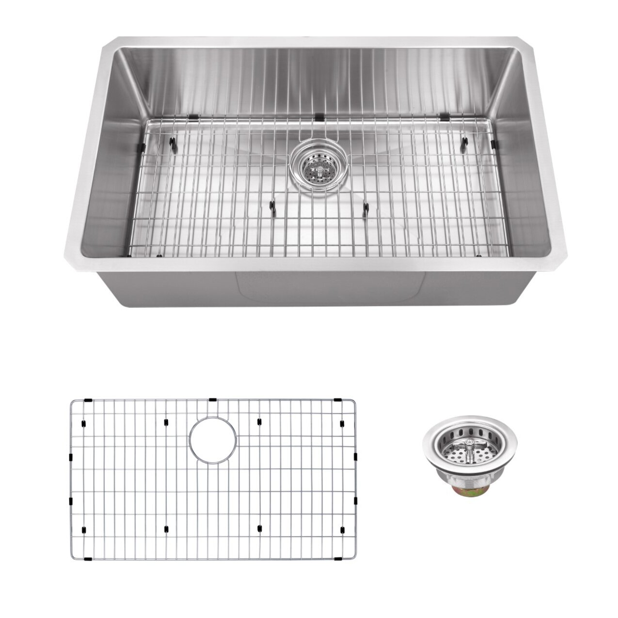 32 x 19 stainless steel 16 gauge radius single bowl kitchen sink - White Single Basin Kitchen Sink