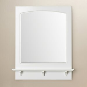 rectangle white wall mirror with shelf