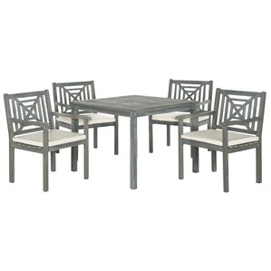 5 Piece Deanna Acacia Patio Dining Set