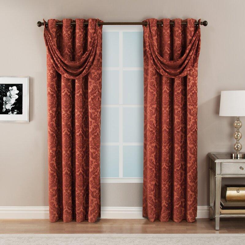 hfi bellagio damask semi-sheer single curtain panel & reviews