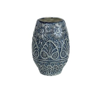 Blue/Ivory Decorative Ceramic Table Vase