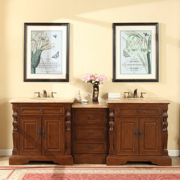 "silkroad exclusive 90"" double sink bathroom modular vanity set"