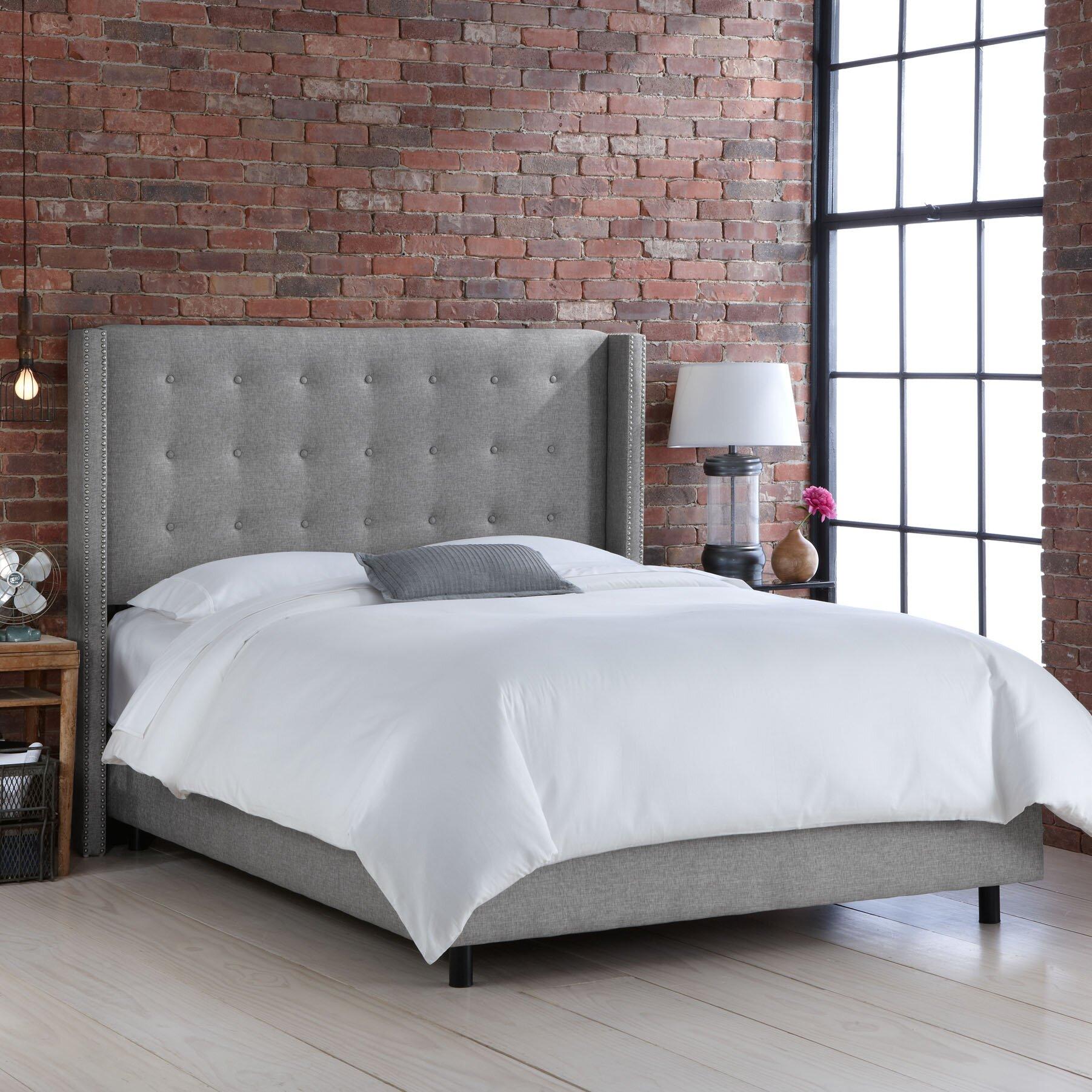 skyline bed skyline tufted nail button wingback velvet  - skyline wingback bed skyline furniture