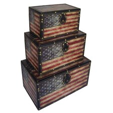 American Flag 3 Piece Trunk Set by Cheungs