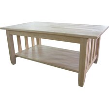 Unfinished Wood Mission Coffee Table by International Concepts