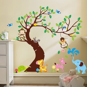 Curved Tree With Forest Friends And Monkeys Wall Decal