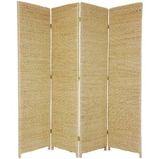 71 Tall Rush Grass Woven 4 Panel Room Divider by Oriental Furniture