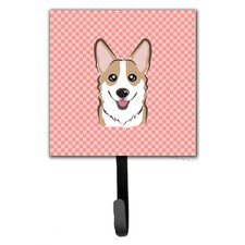 Checkerboard Corgi Leash Holder and Wall Hook by Caroline's Treasures