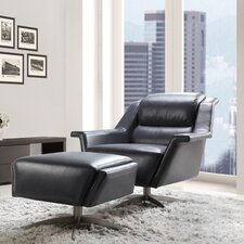 Kaato Full Top Grain Leather Swivel Chair by Moroni