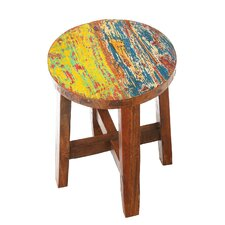 Brickey Reclaimed Wood Accent Stool by World Menagerie