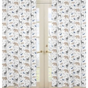 Woodland Animals Wildlife Sheer Rod Pocket Curtain Panels (Set Of 2)