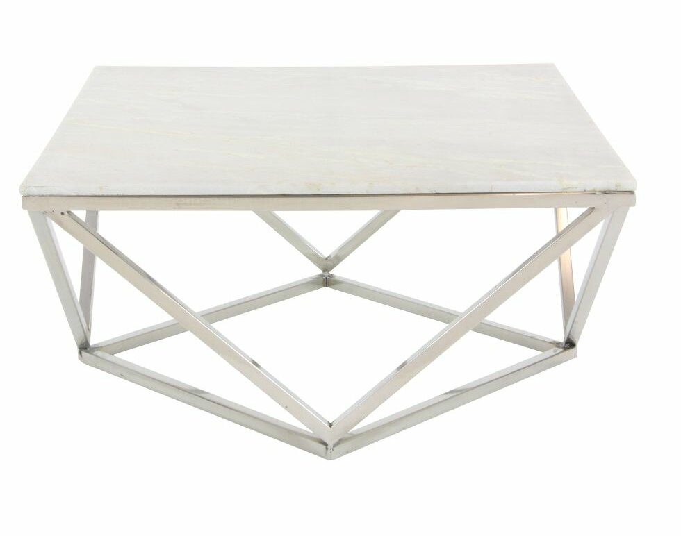 cole & grey stainless steel/marble square coffee table & reviews