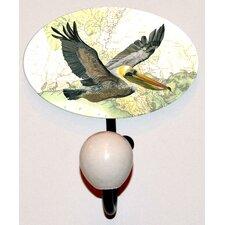 Gulf Pelican Glass Inlay Hook by Charleston Knob Company