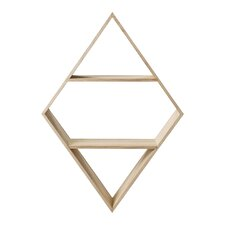 Diamond Shaped Wood Wall Shelf with 2 Shelves by Bloomingville