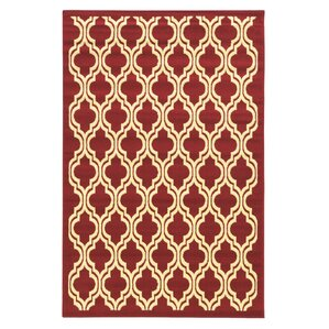 Awesome Capri Quatrefoil Red Area Rug