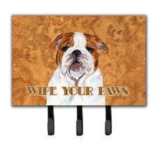 Bulldog English Wipe Your Paws Leash Holder and Key Holder by Caroline's Treasures