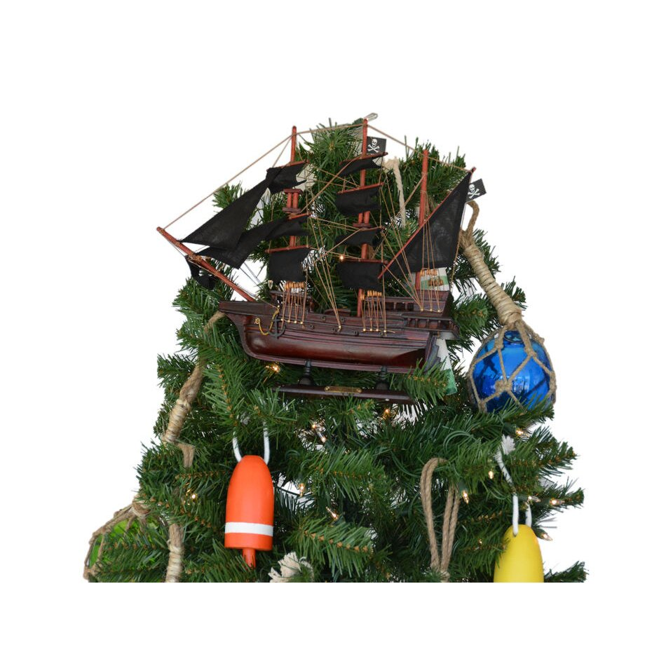 Rose christmas ornament - Ed Low S Wooden Rose Pink Pirate Model Ship Christmas Tree Topper Decoration