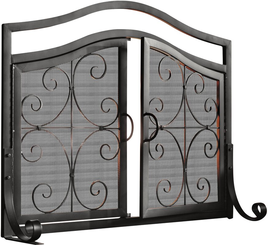 Fireplace Design metal fireplace screen : Plow & Hearth Small Crest Fireplace Screen with Doors & Reviews ...