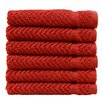 Linum Home Textiles Herringbone Luxury Hotel & Spa Weave 100% Turkish Cotton Wash Cloth (Set of 6)