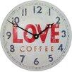 Roger Lascelles Clocks Love Coffee Convex Tin Clock