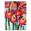 Artist Lane Red Flowers by Anna Blatman Art Print Wrapped on Canvas