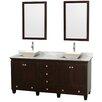 "Wyndham Collection Acclaim 72"" Double Espresso Bathroom Vanity Set with Mirror"