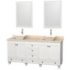 """Wyndham Collection Acclaim 72"""" Double White Bathroom Vanity Set with Mirror"""