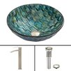 VIGO Oceania Glass Circular Vessel Bathroom Sink