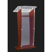 """AmpliVox Sound Systems Clear """"H"""" Style Acrylic with Wood Sides and Floor Panel Lectern"""