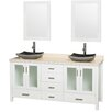 """Wyndham Collection Lucy Avalon 72"""" Double White Bathroom Vanity Set with Mirror"""